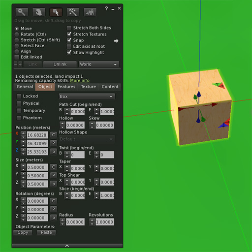 Singularity object edit panel with cube