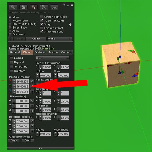 Firestorm object edit panel with arrow pointing to Position numerical value.