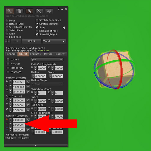Firestorm object edit panel with arrow pointing to Rotate numerical value.