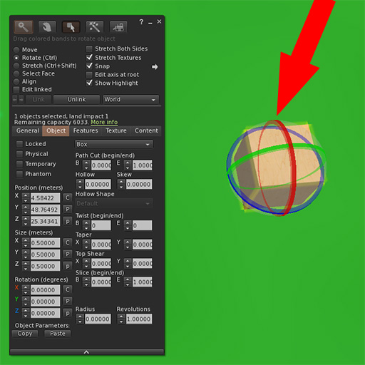 Firestorm object edit panel with arrow pointing to rotate handles on a cube.